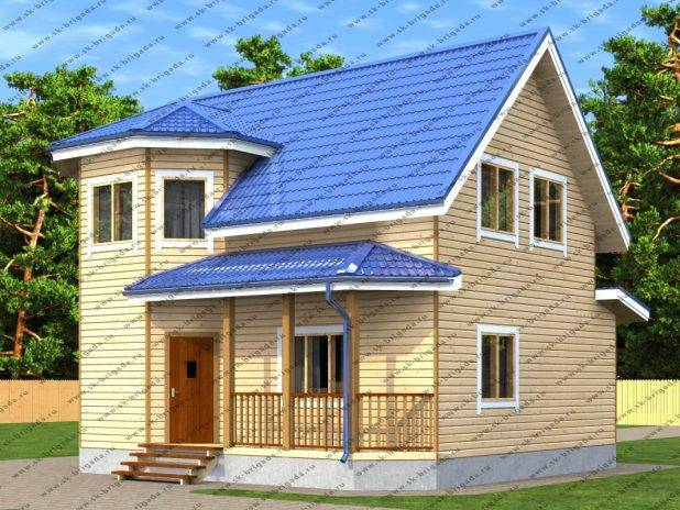 Проект дома из бруса с двумя террасами под ключ