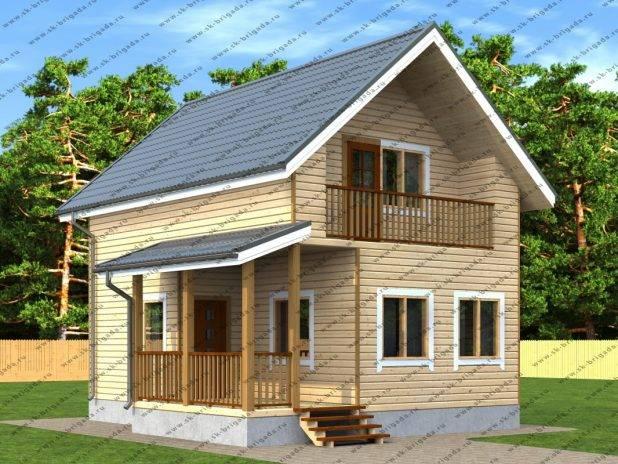 Дом из бруса 7х8 с террасой и балконом под ключ