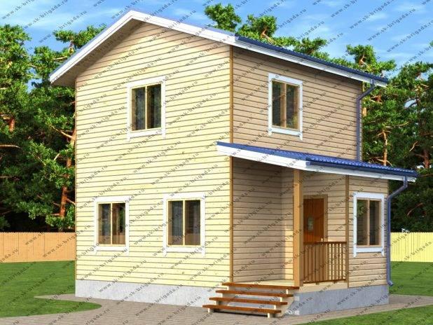 Проект двухэтажного дома из бруса 6х8 под ключ