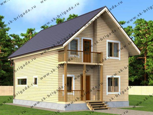 Двухэтажный дом 7 на 10 из бруса под ключ