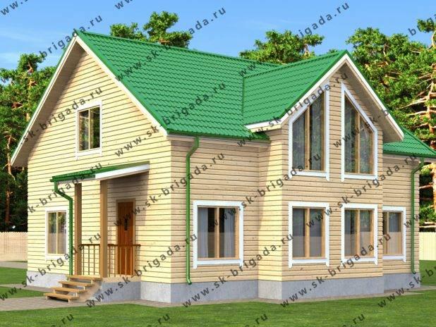 Проект дома с мансардой с большими окнами под ключ