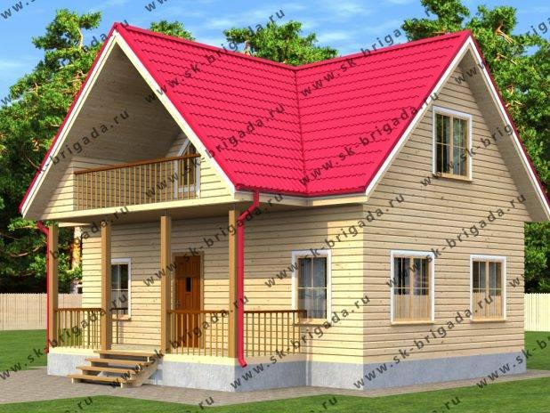 Проект деревянного дома с мансардой 8х9 под ключ