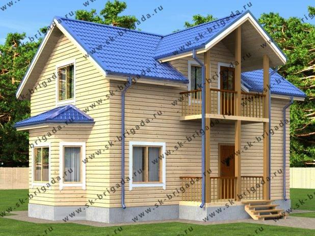 Проект дома из бруса с большой гостиной под ключ