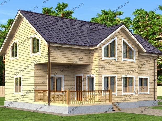 Дом из бруса с мансардными окнами под ключ