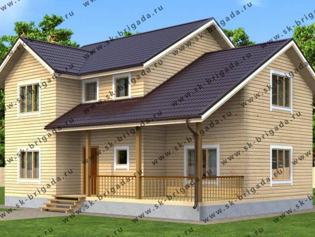 Проект двухэтажного дома 9х12 из бруса под ключ