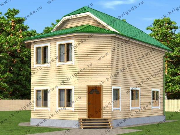 Проект двухэтажного дома 10х8 из бруса (2 этажа) под ключ