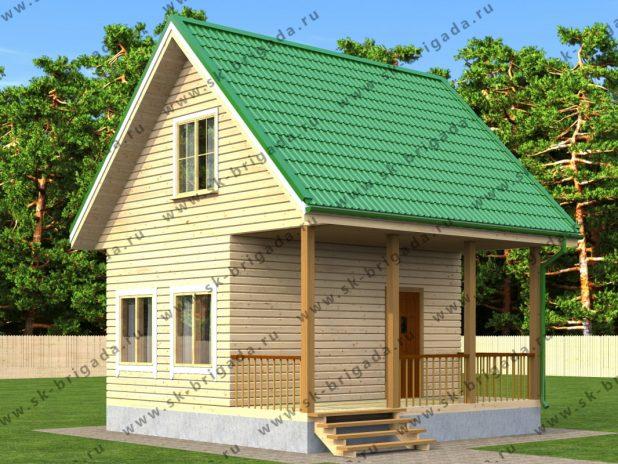 Небольшой дом из профилированного бруса 6х6 с террасой под ключ