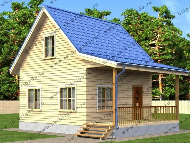 Садовый домик 6х6 с мансардой и верандой под ключ