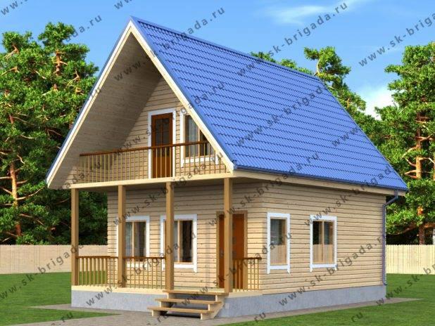 Деревянный дом с балконом и террасой под ключ