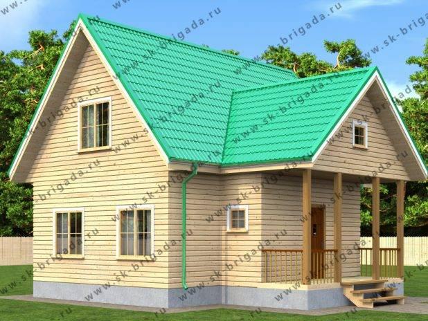Проект одноэтажного дома 6х9 из бруса с мансардой под ключ