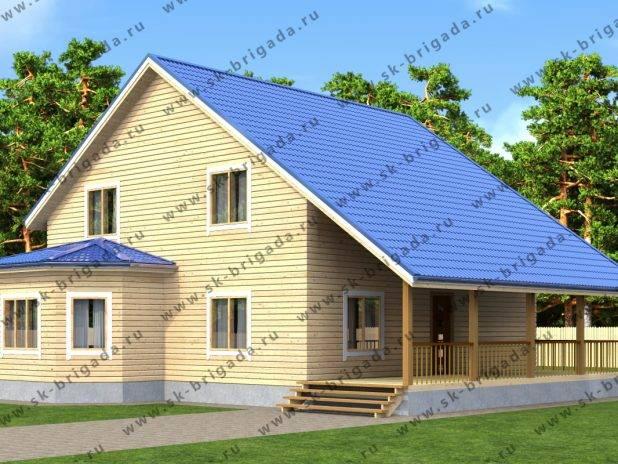 Проект полутораэтажного дома 10х10 из бруса с террасой под ключ