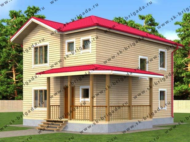 Деревянный частный дом 8 на 9 (2 этажа) под ключ