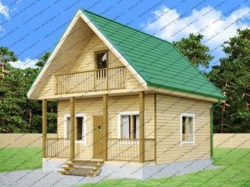 Дачный дом 6х7 с террасой и балконом