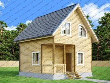 Проект дома из бруса 6х7 с мансардой