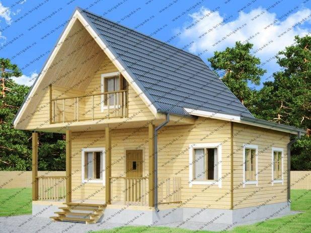 Дом из бруса 8х8 с террасой и балконом под ключ