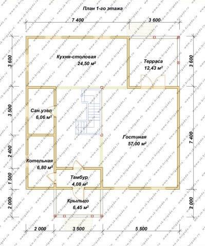 Планировка 1 этажа 10,8х12,8 метров