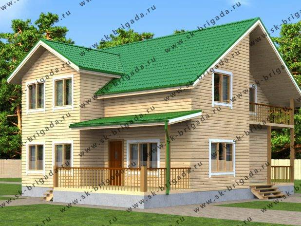 Проект двухэтажного брусового дома 12х10 под ключ