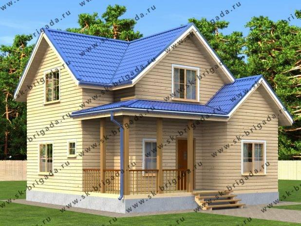 Проект деревянного дома 8х8 с мансардой под ключ