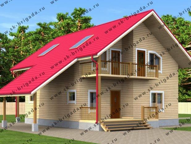 Проект двухэтажного дома 12 на 14 из бруса под ключ