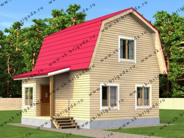 Проект одноэтажного дома 6х7 из бруса с мансардой под ключ