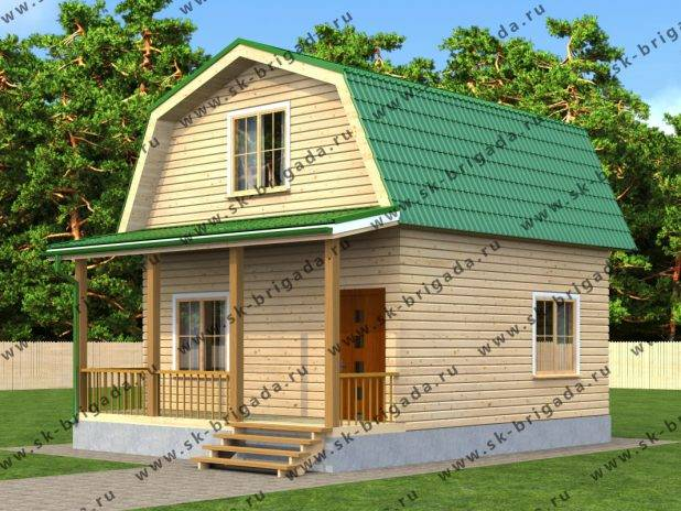 Одноэтажный дачный дом 6х8 из бруса с ломаной крышей под ключ