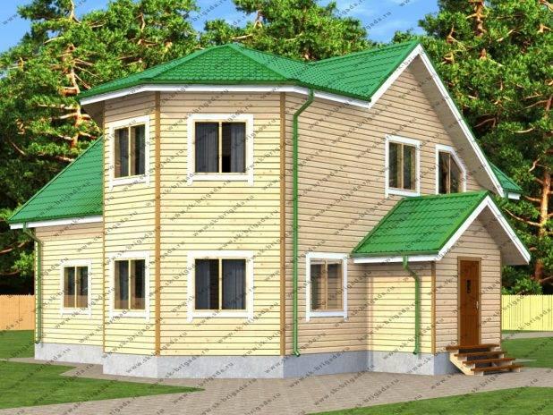 Проект двухэтажного дома 11 на 12 из бруса под ключ