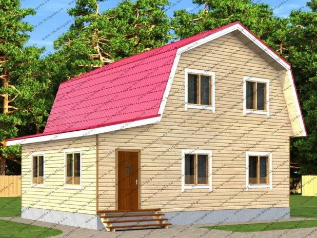 Проект деревянного дома 9х9 с мансардой и верандой под ключ