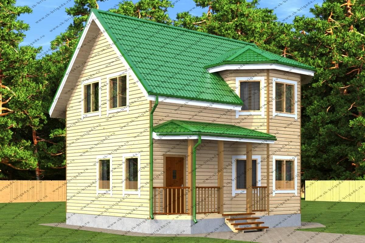 Проект дома из бруса 7х8 с эркером и санузлом — планировка ...  Дом из Бруса 7х8