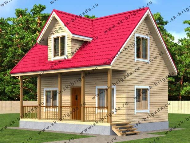 Брусовой дом с мансардой 6 на 8 под ключ