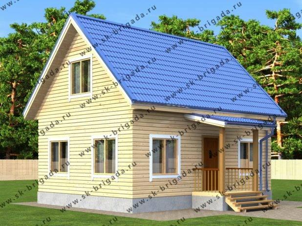 Проект дачного дома 6х8 из бруса с мансардой площадью 87 м2 под ключ