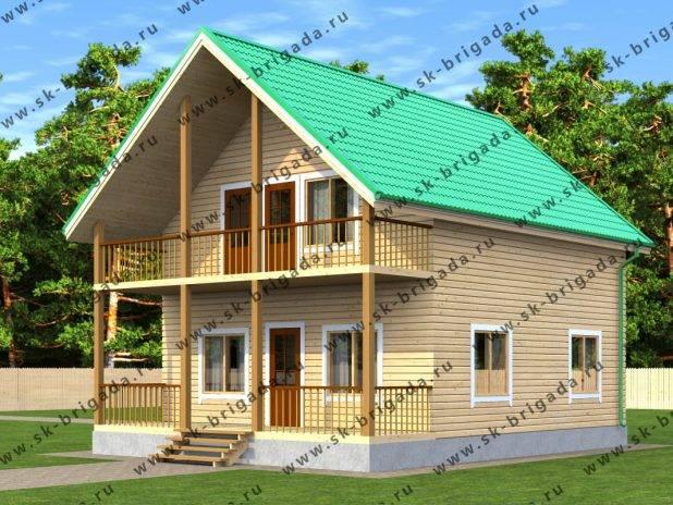 Проект деревянного дома 7,5х10 из бруса под ключ