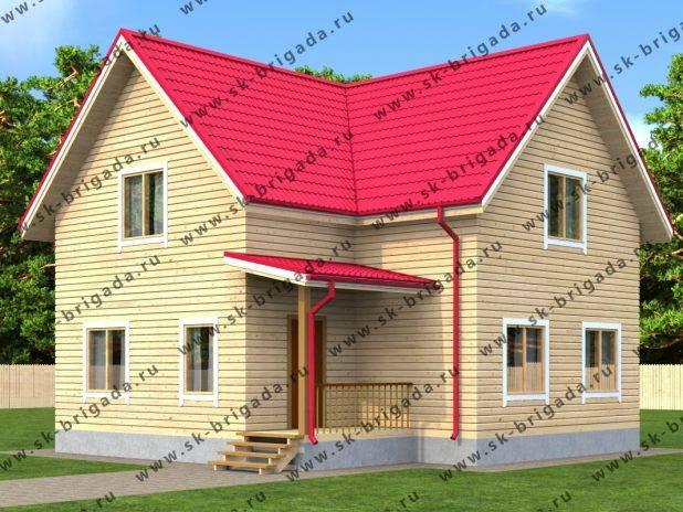 Угловой дом из бруса с террасой под ключ