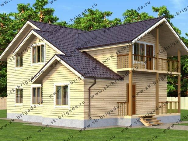 Двухэтажный дом 12 на 12 из бруса под ключ