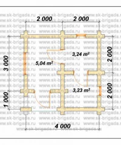 Планировка 1 этажа 4х4 метров