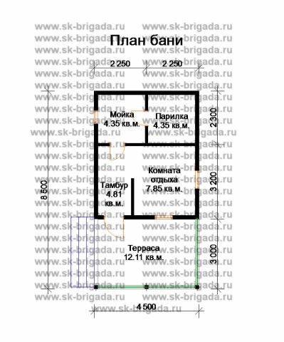 Планировка 1 этажа 4,5х8,5 метров