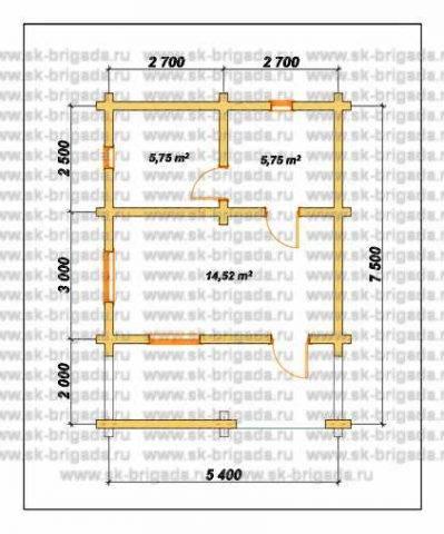 Планировка 1 этажа 5,5х7,5 метров