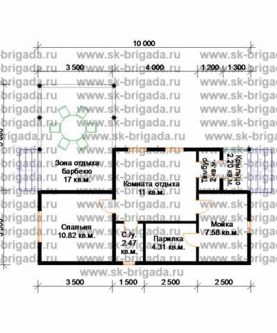 Планировка 1 этажа 8,5х10 метров