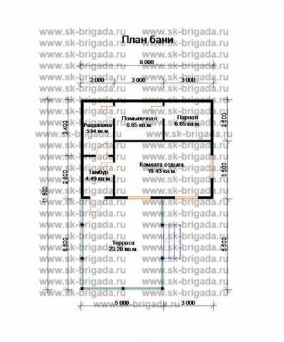 Планировка 1 этажа 8х11,5 метров