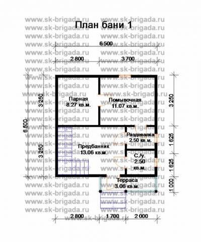 Планировка 1 этажа 6,5х6,5 метров