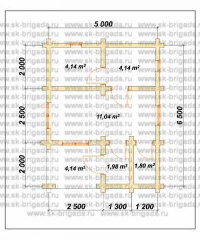 Планировка 1 этажа 5х6,5 метров