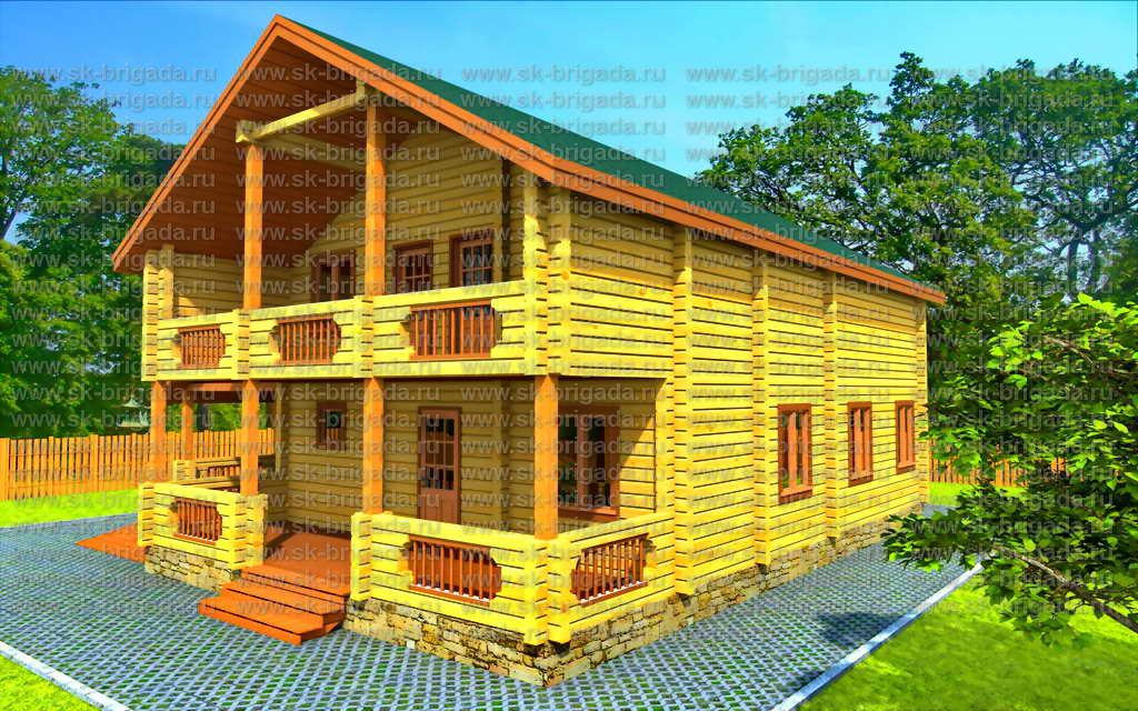 Дом из профилированного бруса с балконом.