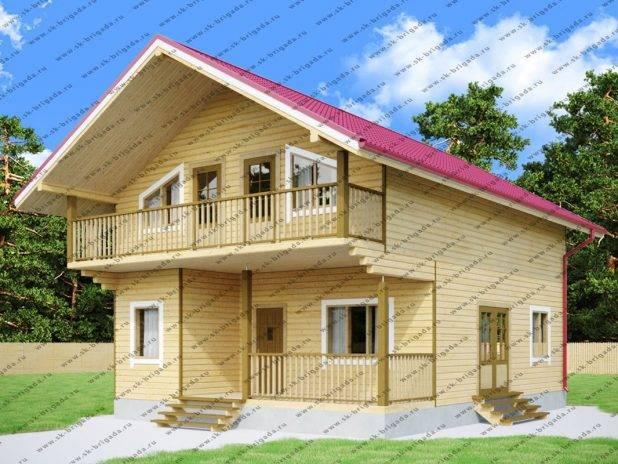 Дом из бруса с балконом и террасой под ключ