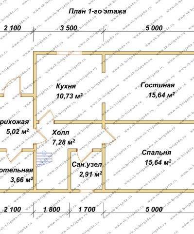 Планировка 1 этажа 7х10,6 метров