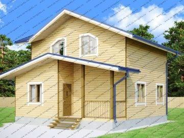 Дачный дом из бруса в 2 этажа с мансардой
