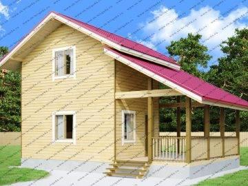 Проект дома с крытой террасой и мансардой