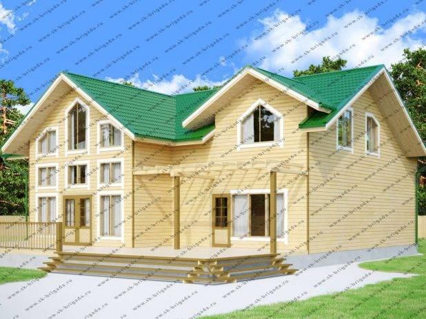 Деревянный дом 15 на 17 из бруса с витражными окнами под ключ