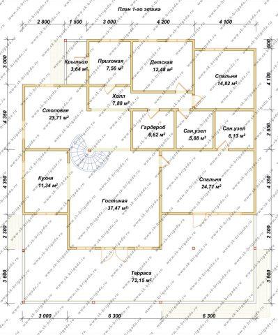Планировка 1 этажа 15х17 метров