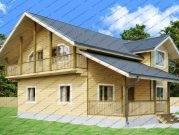 Проект дома из бруса с большой кухней