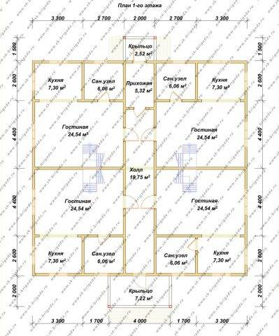 Планировка 1 этажа 14х14 метров