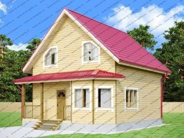 Квадратный дачный дом из бруса
